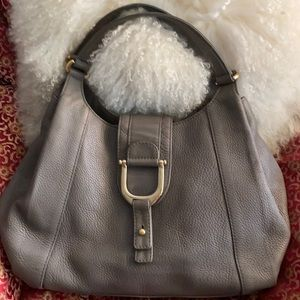 Grey Pebbled calfskin convertible bag